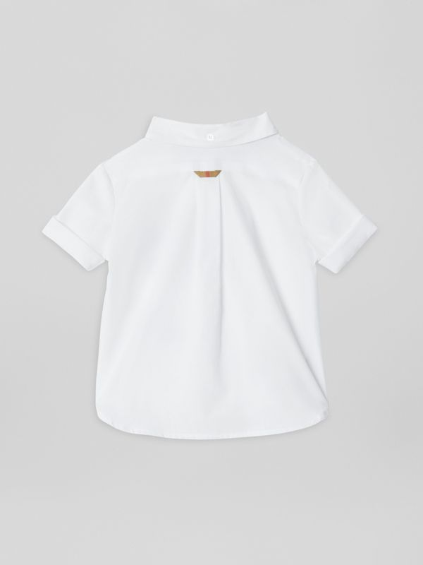 Short-sleeve Check Detail Cotton Oxford Shirt in White - Children | Burberry United Kingdom - cell image 3