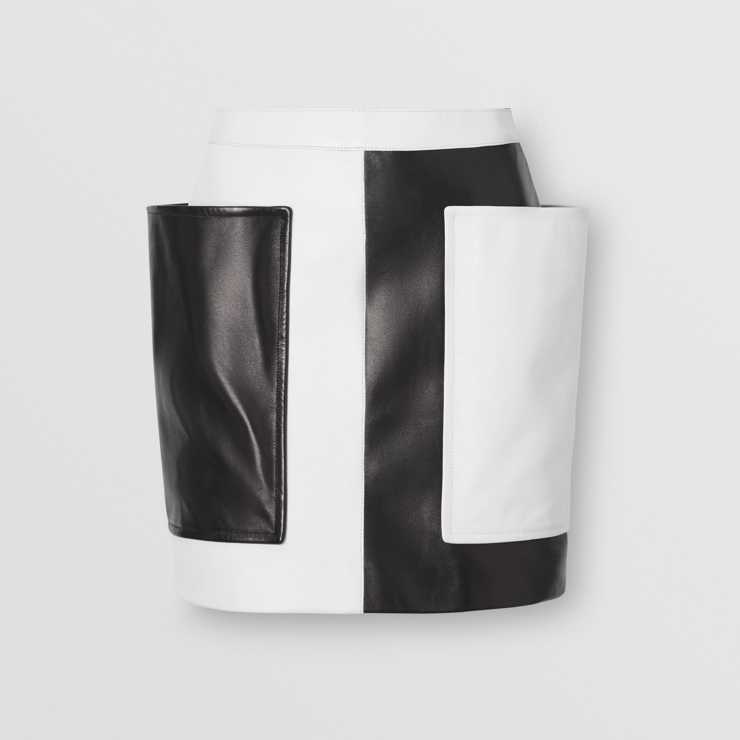 Pocket Detail Two-tone Lambskin Mini Skirt in Black/white - Women | Burberry - 4