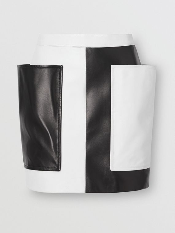 Pocket Detail Two-tone Lambskin Mini Skirt in Black/white