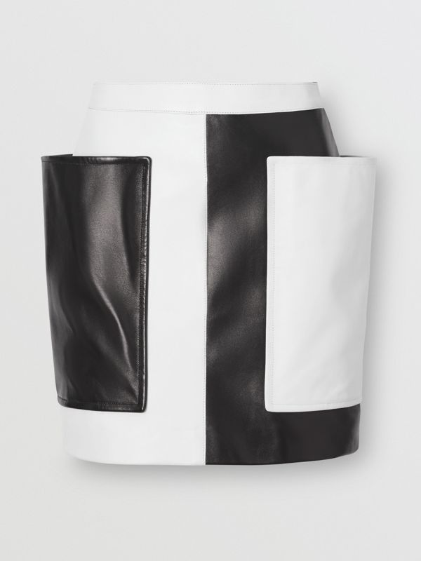 Pocket Detail Two-tone Lambskin Mini Skirt in Black/white - Women | Burberry - cell image 3