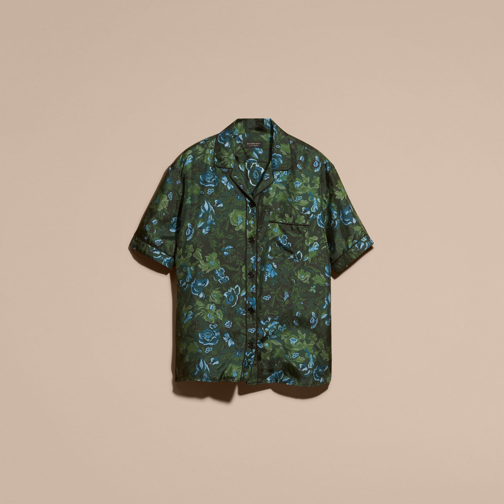 Forest green Short-sleeved Floral Print Silk Pyjama-style Shirt Forest Green - gallery image 4