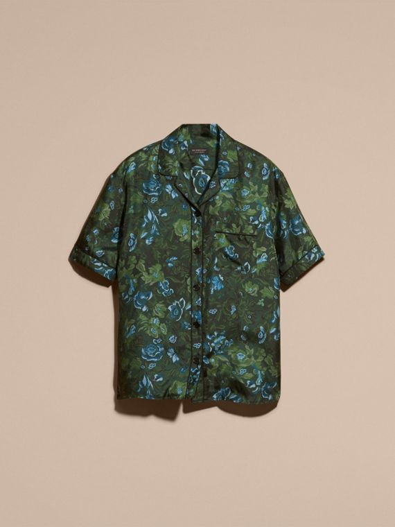Forest green Short-sleeved Floral Print Silk Pyjama-style Shirt Forest Green - cell image 3