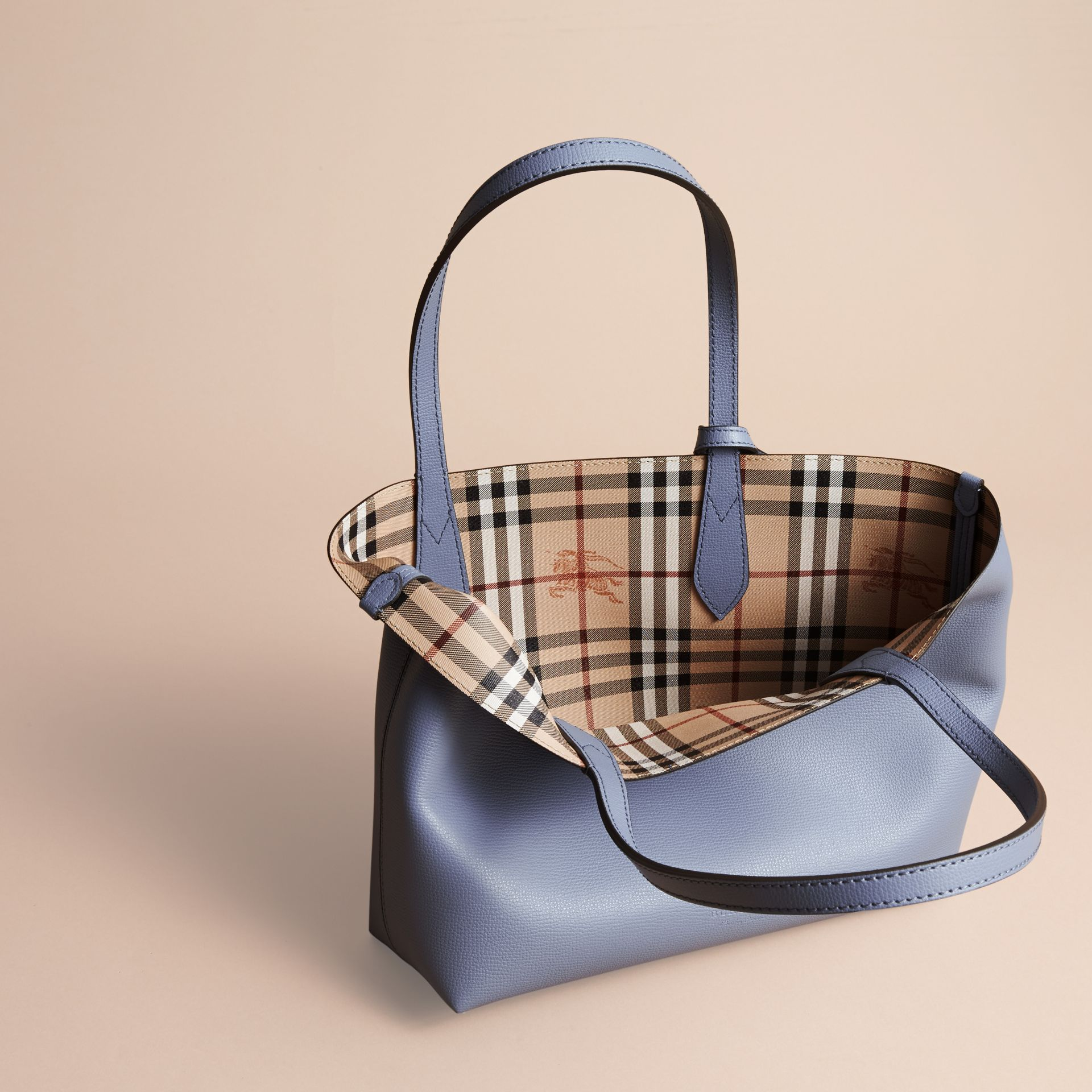 The Small Reversible Tote in Haymarket Check and Leather Slate Blue - gallery image 6