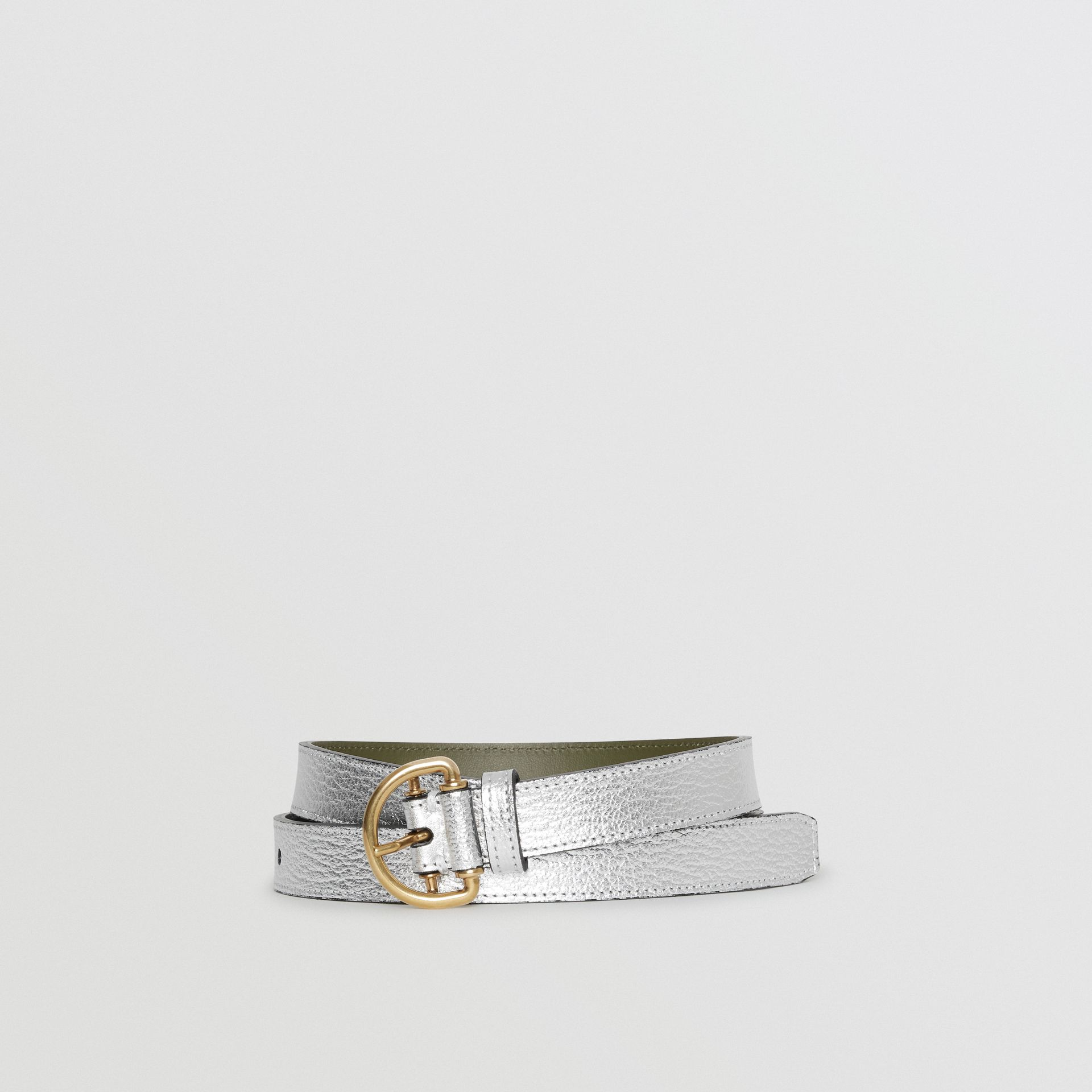 Slim Metallic Leather D-ring Belt in Silver/dark Olive - Women | Burberry Australia - gallery image 0