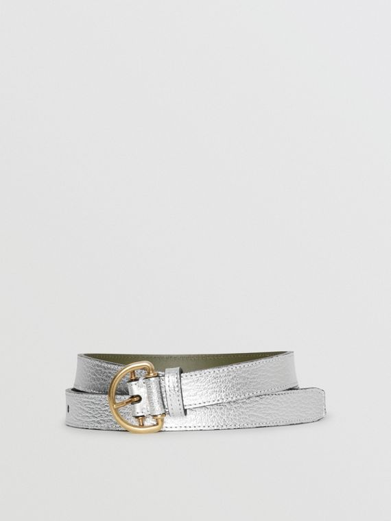 Slim Metallic Leather D-ring Belt in Silver/dark Olive