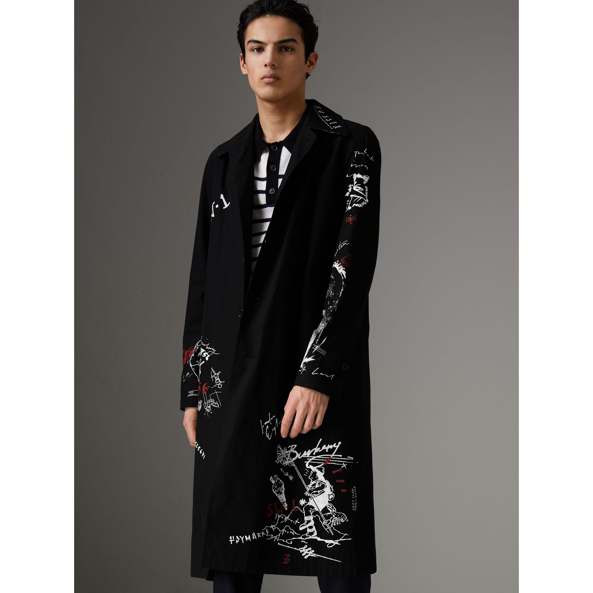 Sketch Print Car Coat in Black - Men | Burberry Australia - gallery image 7