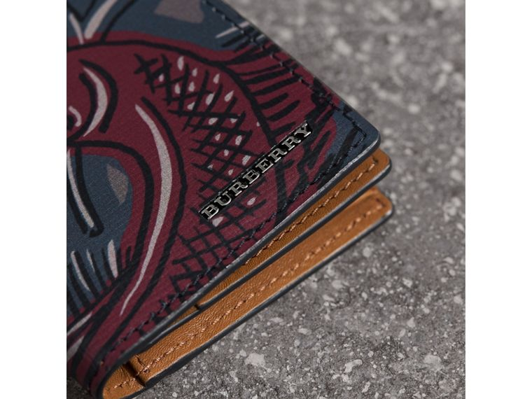 Beasts Print Leather Folding Card Case - Men | Burberry - cell image 1