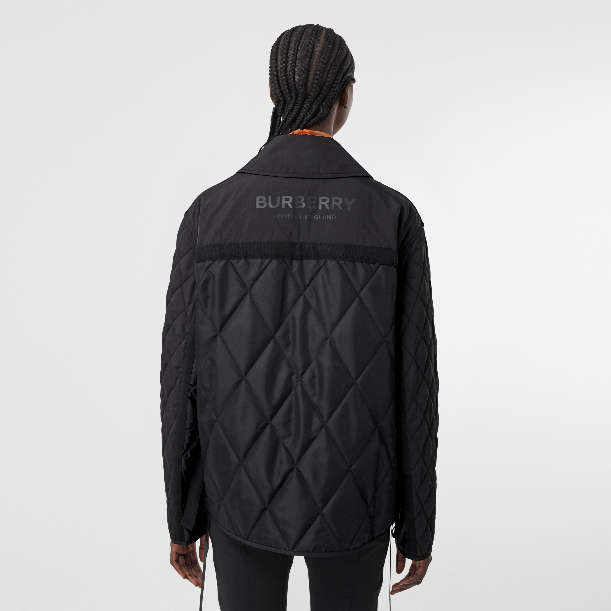 Logo Print Diamond Quilted Jacket in Black - Women | Burberry - 3
