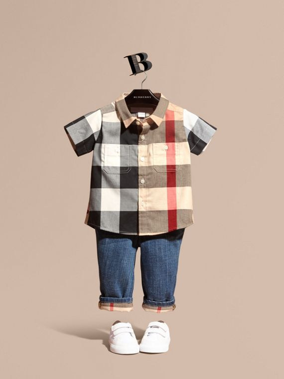 Short-sleeve Check Cotton Shirt in New Classic - Children | Burberry