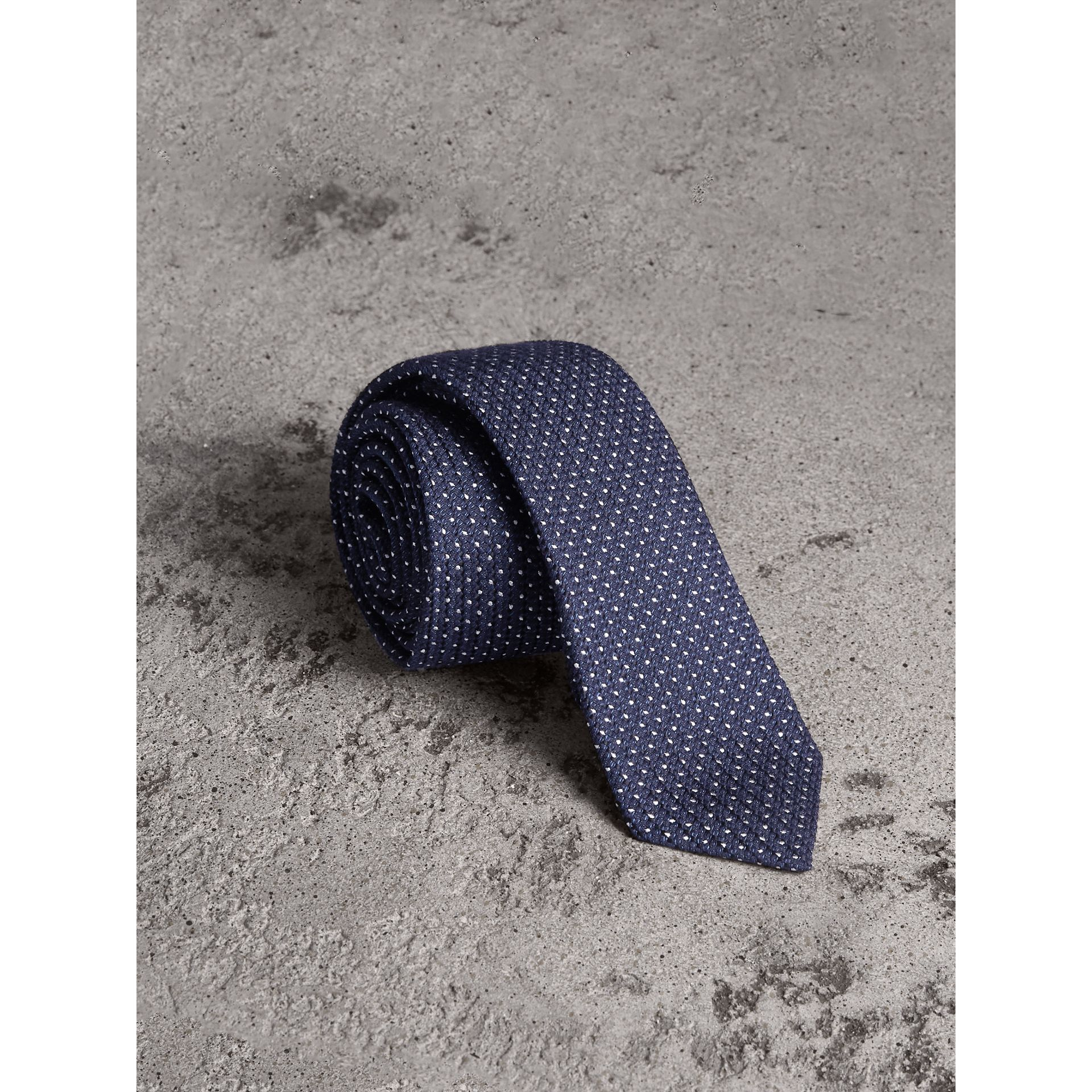 Slim Cut Pinpoint Wool Silk Tie in Steel Blue - Men | Burberry Australia - gallery image 1