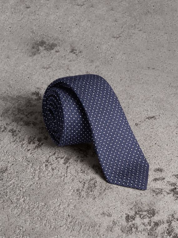 Slim Cut Pinpoint Wool Silk Tie in Steel Blue