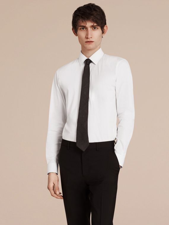 White Slim Fit Stretch Cotton Shirt White - cell image 2