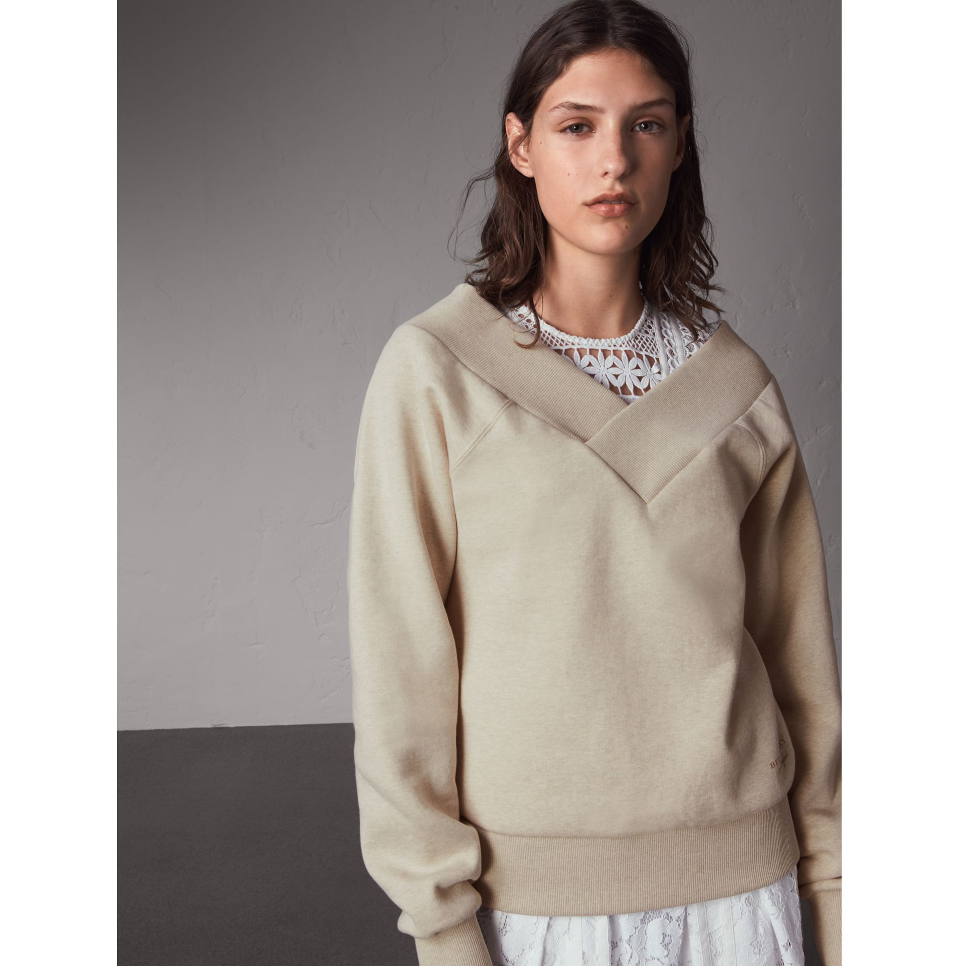 Off-the-shoulder Sweatshirt in Oatmeal Melange - Women | Burberry Hong Kong - gallery image 1