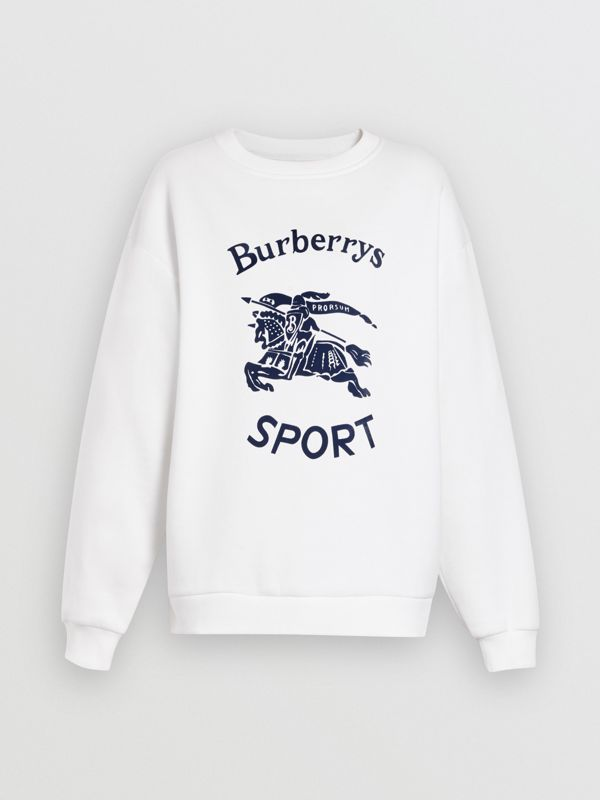Archive Logo Cotton Blend Sweatshirt in White - Women | Burberry United Kingdom - cell image 3