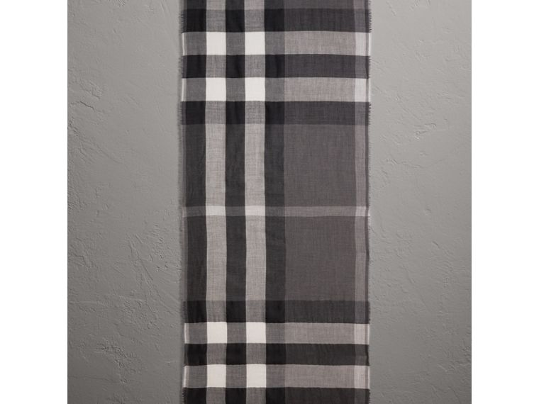 Lightweight Check Cashmere Scarf in Mid Grey | Burberry Hong Kong - cell image 1