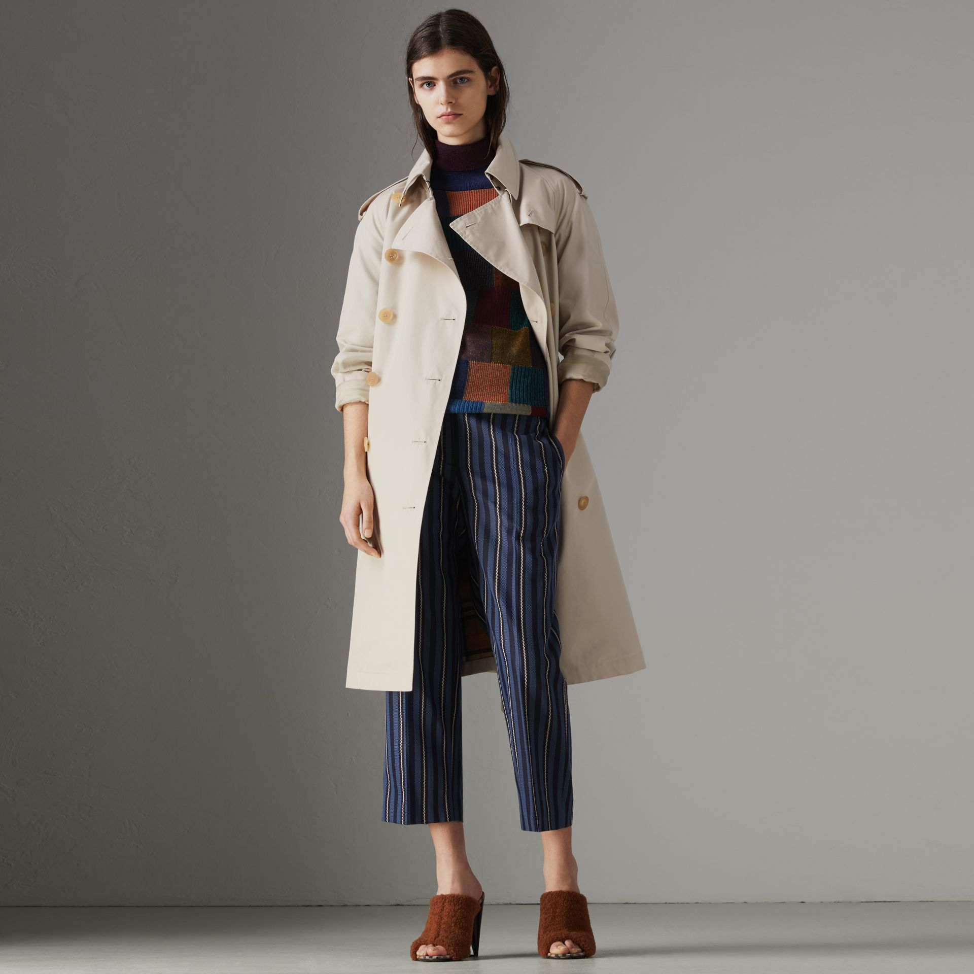 Heritage Stripe Cotton Gabardine Trench Coat in Stone - Women | Burberry - gallery image 0