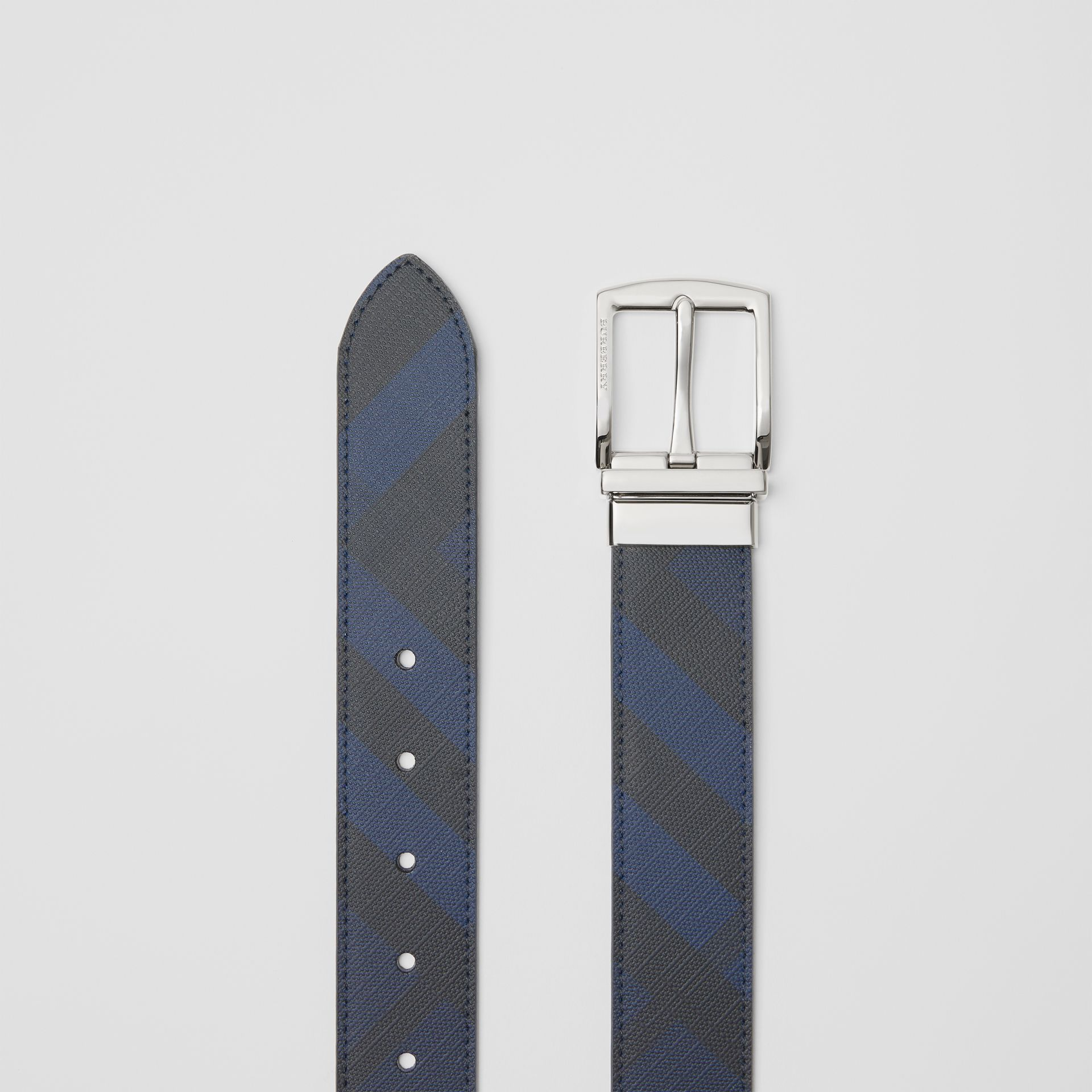 Reversible London Check and Leather Belt in Navy/black - Men | Burberry - gallery image 5