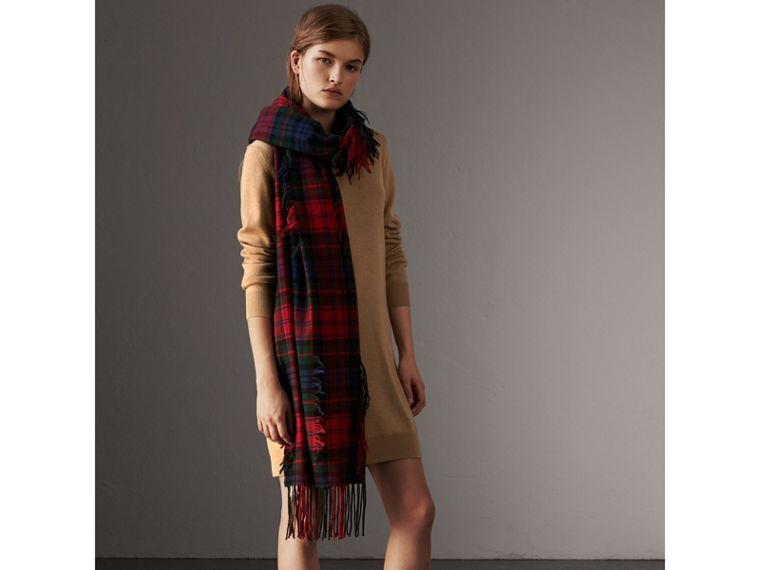 Check Elbow Detail Merino Wool Sweater Dress in Camel - Women | Burberry - cell image 4