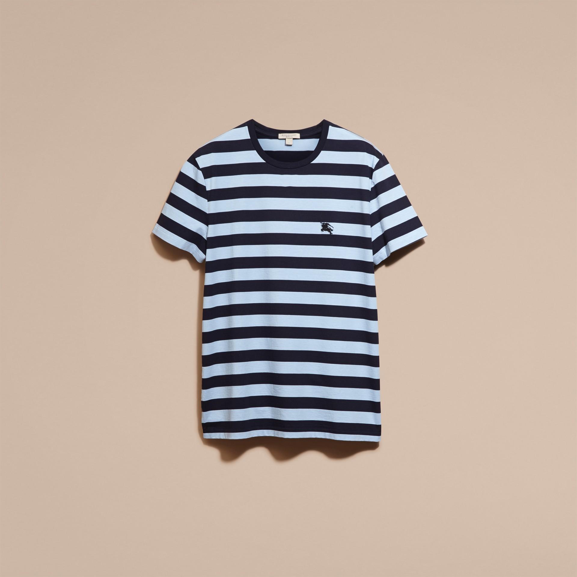 Navy T-shirt in cotone a righe Navy - immagine della galleria 4