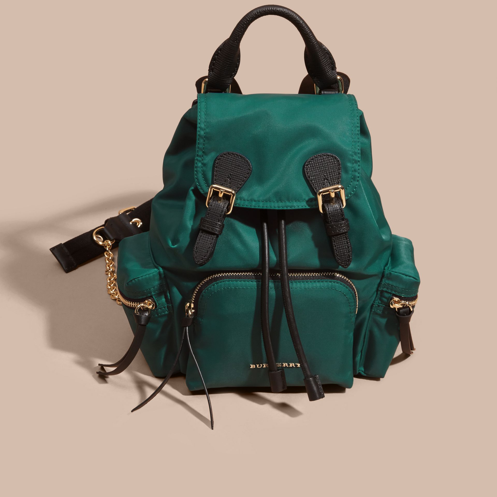 Pine green The Small Rucksack in Technical Nylon and Leather Pine Green - gallery image 7