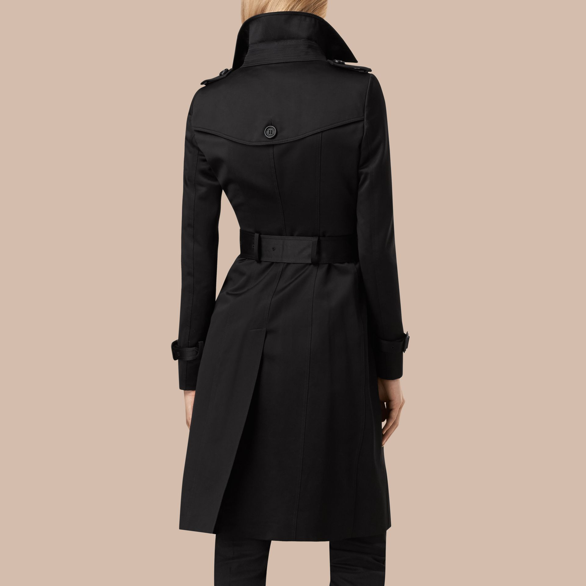 Black Cotton Sateen Trench Coat - gallery image 3