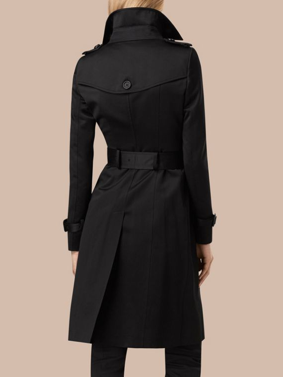 Black Cotton Sateen Trench Coat - cell image 2