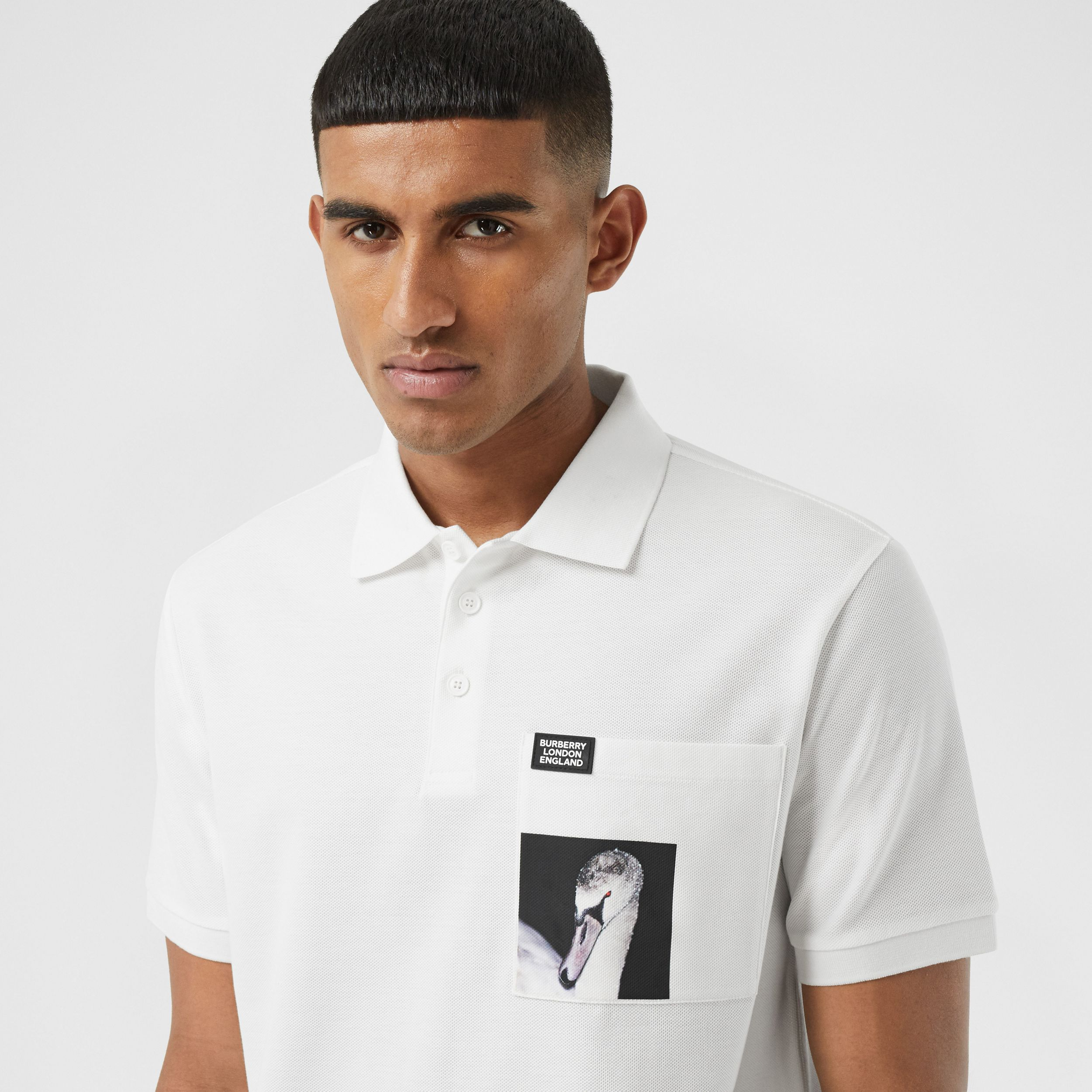 Swan Print Cotton Polo Shirt in White - Men | Burberry - 2