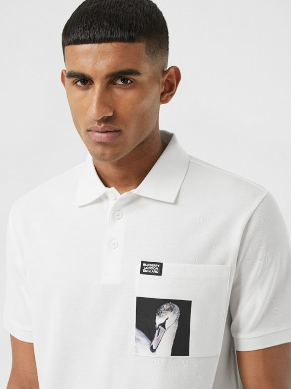 Swan Print Cotton Polo Shirt in White - Men | Burberry United Kingdom - cell image 1