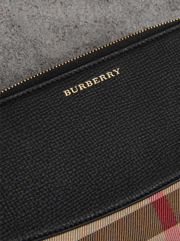 House Check and Leather Ziparound Wallet in Black - Women | Burberry United Kingdom - cell image 1