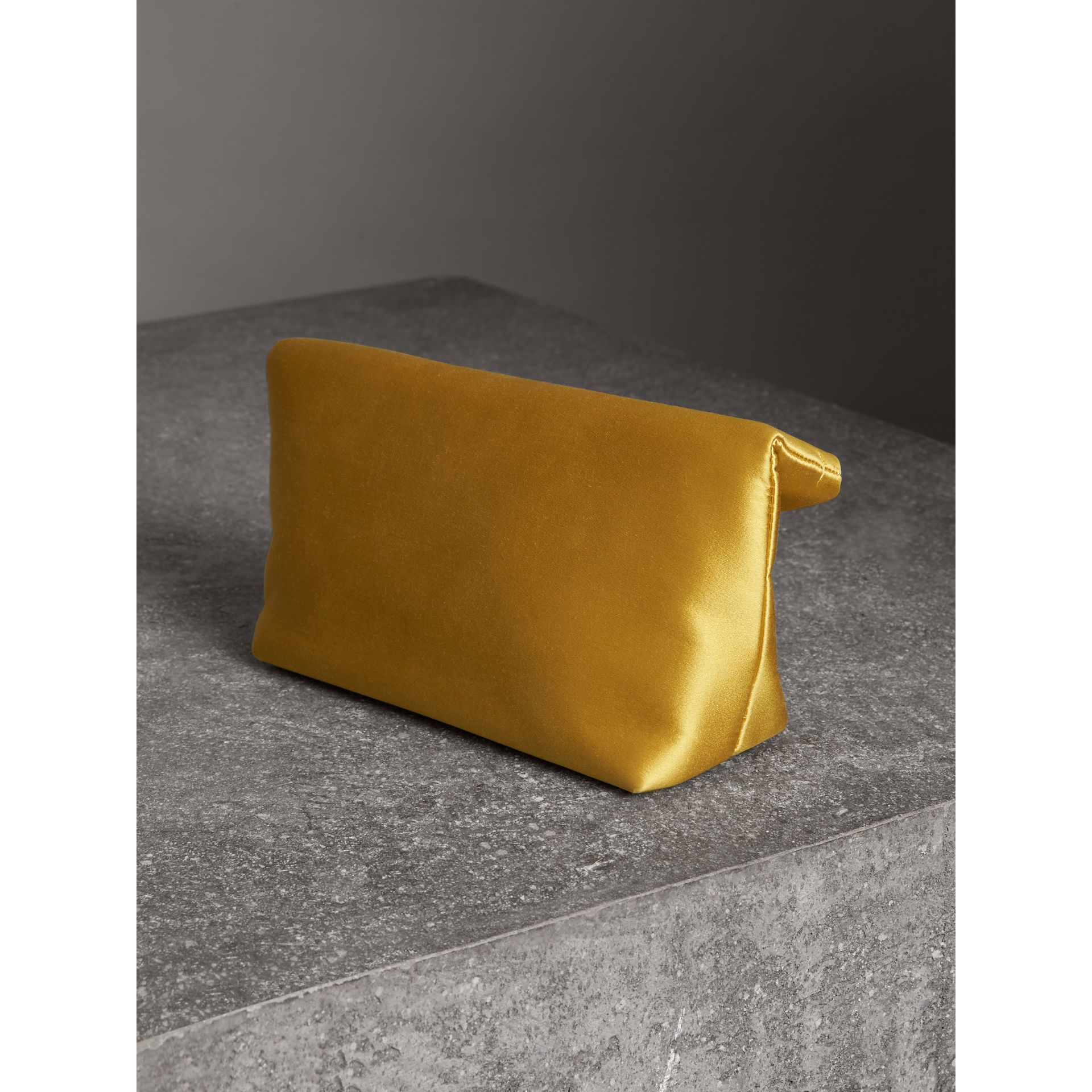 The Small Pin Clutch in Satin in Amber Yellow - Women | Burberry Singapore - gallery image 2