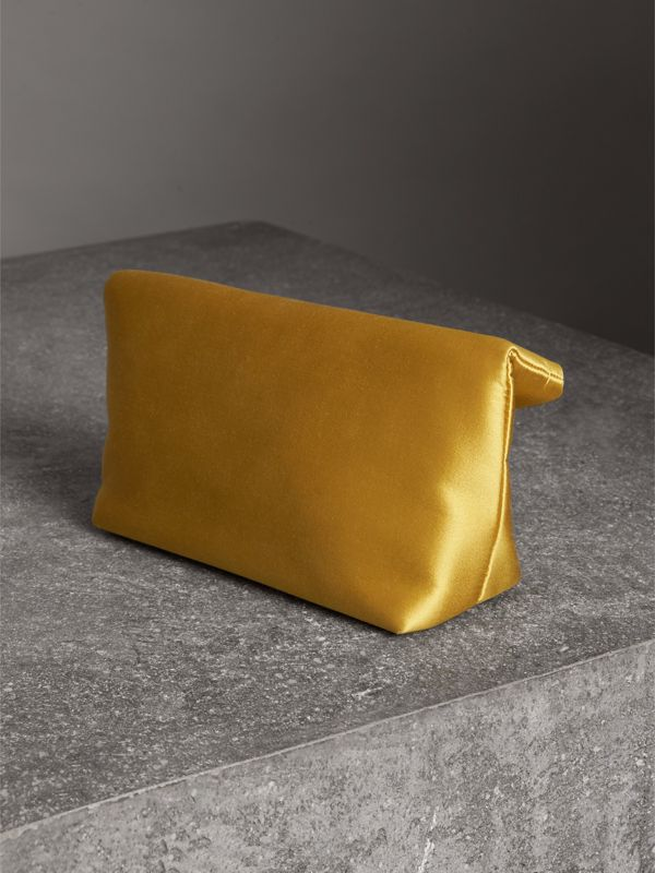 The Small Pin Clutch in Satin in Amber Yellow - Women | Burberry Singapore - cell image 2