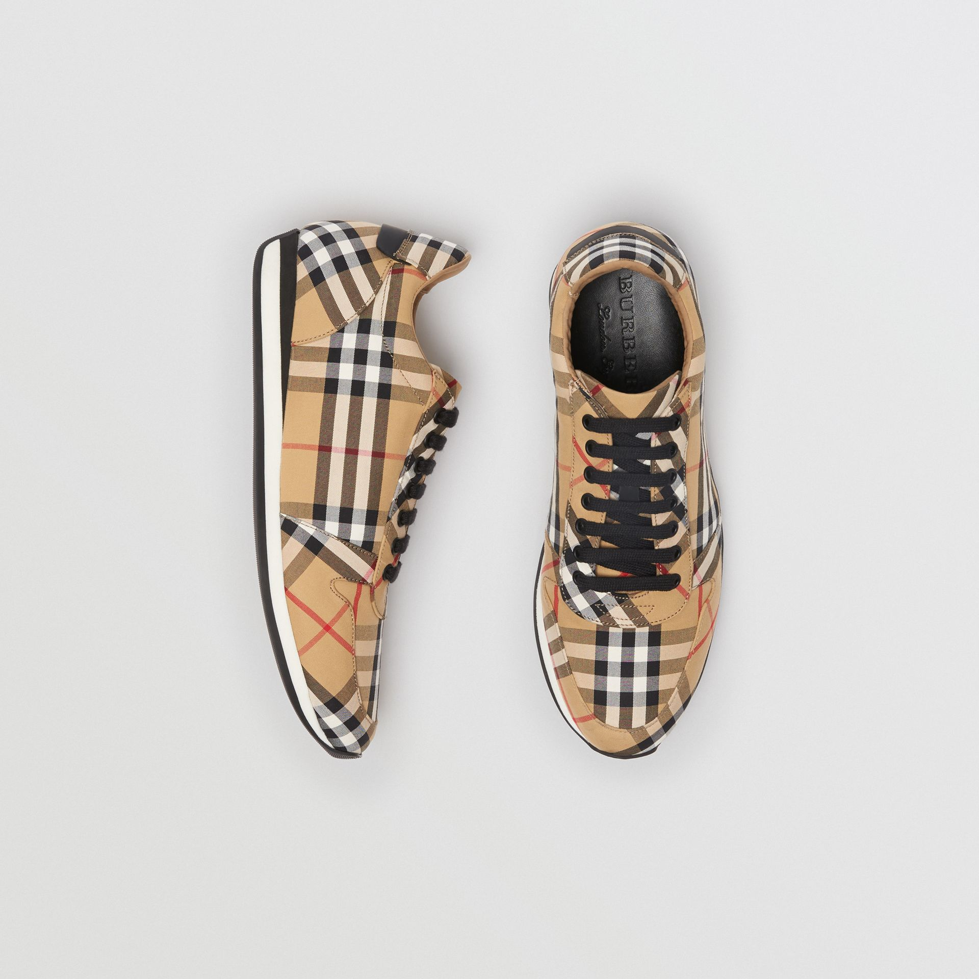 Vintage Check Cotton Trainers in Antique Yellow - Men | Burberry - gallery image 0