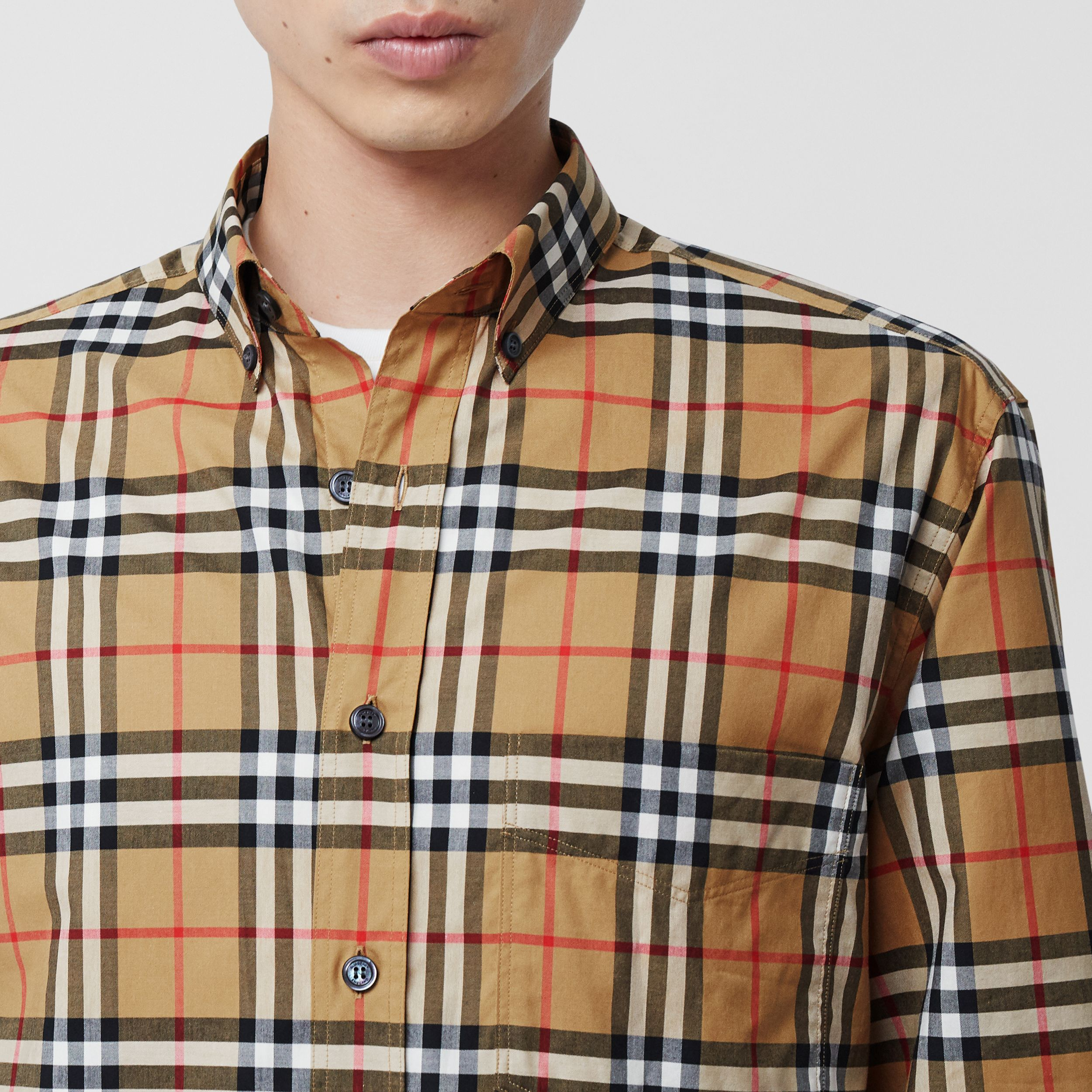 Button-down Collar Vintage Check Cotton Shirt in Antique Yellow - Men | Burberry - 2