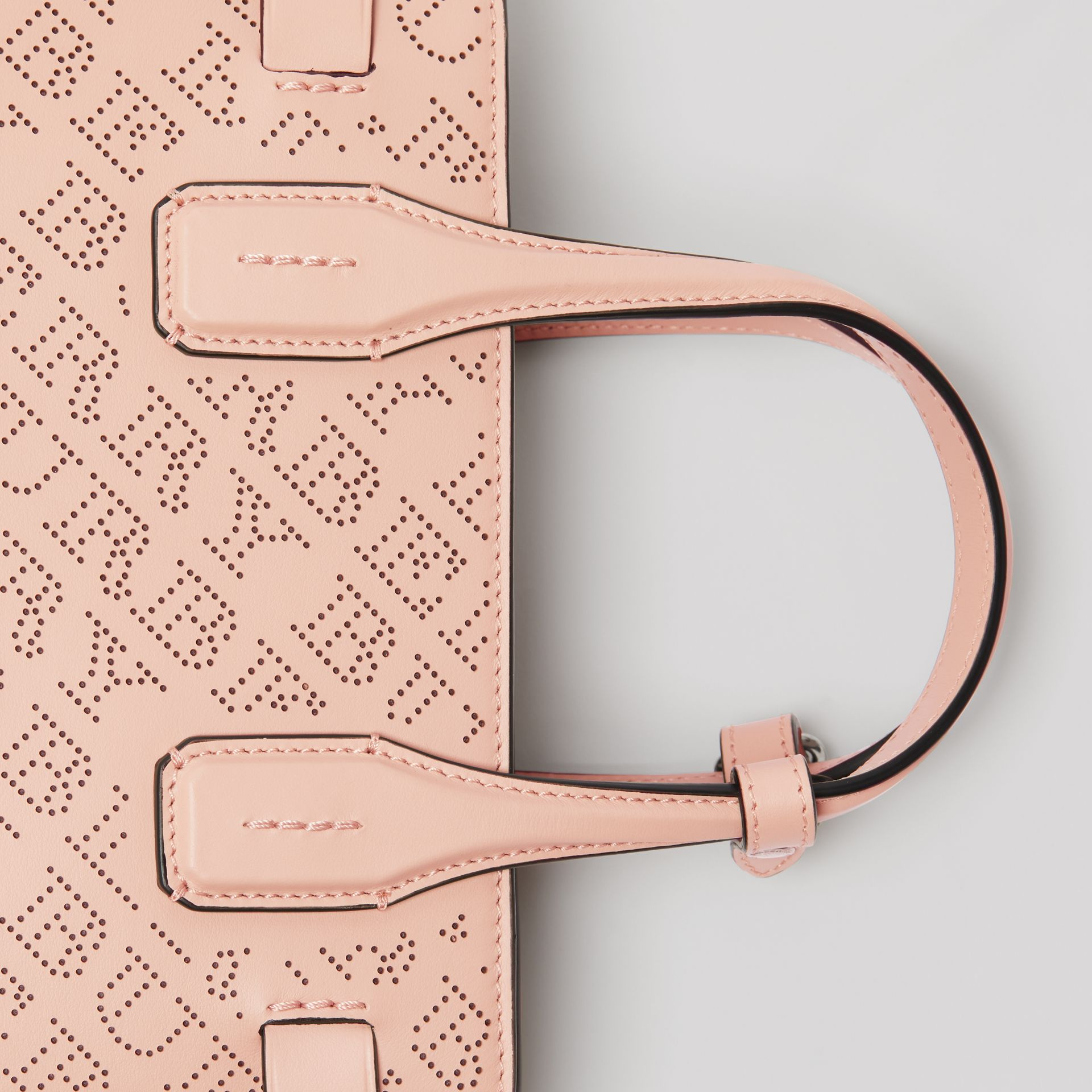 The Small Banner in Perforated Logo Leather in Pale Fawn Pink - Women | Burberry - gallery image 1