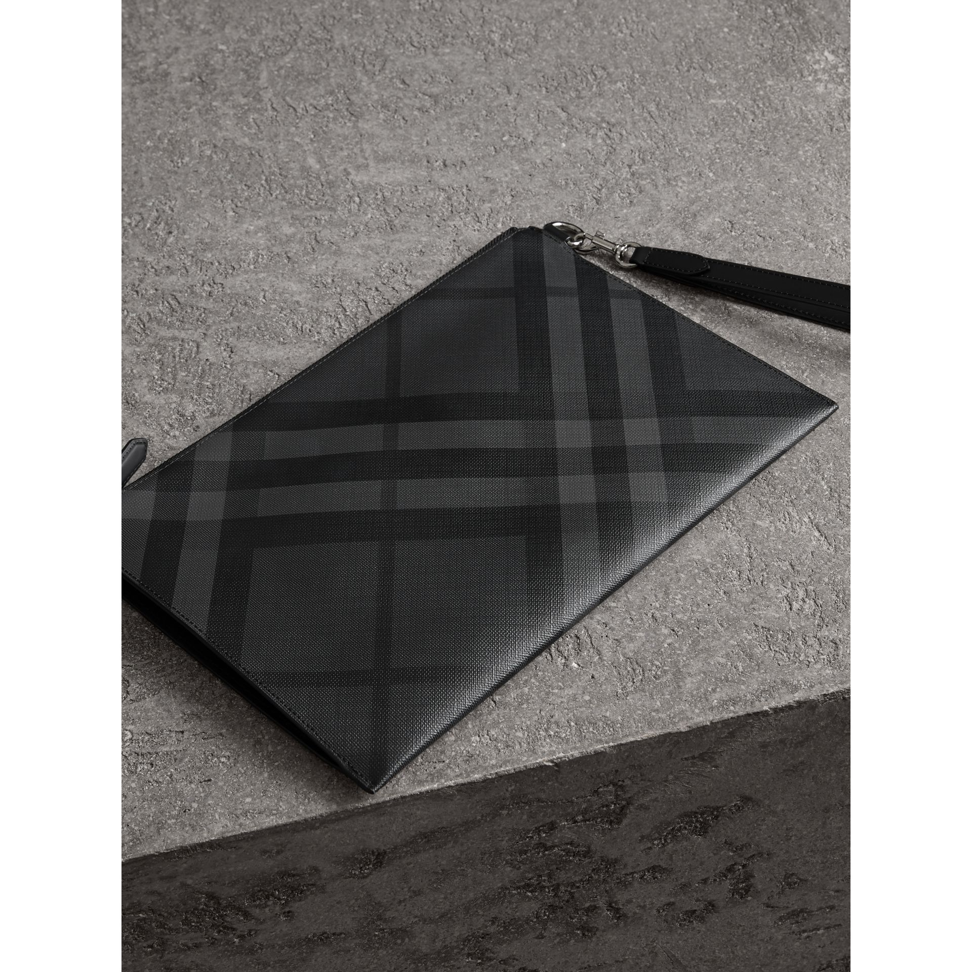 London Check Zip Pouch in Charcoal/black | Burberry Canada - gallery image 2