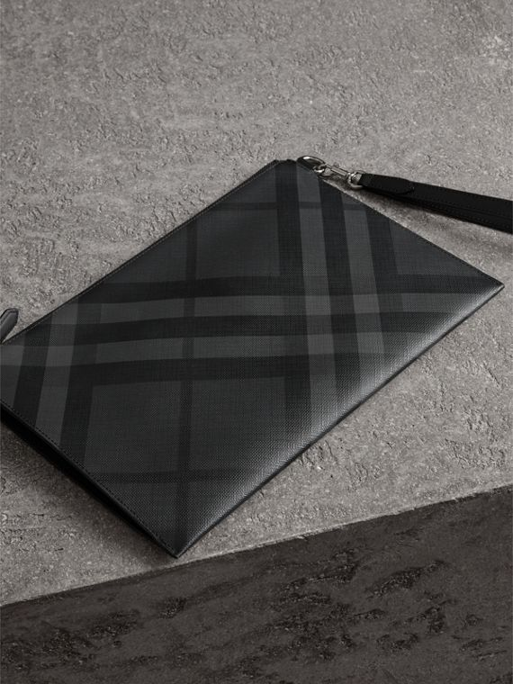 London Check Zip Pouch in Charcoal/black - Men | Burberry - cell image 2