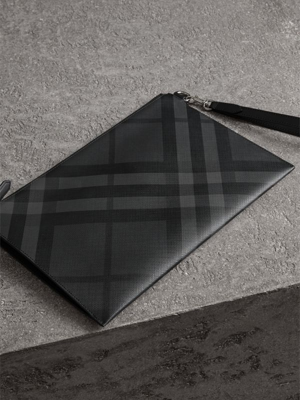 London Check Zip Pouch in Charcoal/black | Burberry Canada - cell image 2