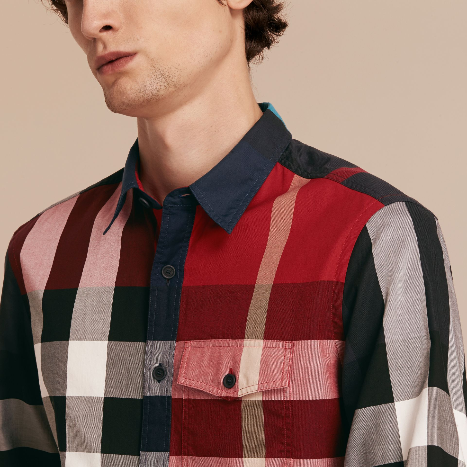 Parade red Check Cotton Poplin Shirt Parade Red - gallery image 5