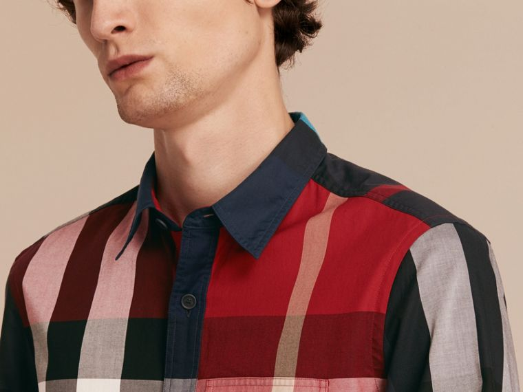 Parade red Check Cotton Poplin Shirt Parade Red - cell image 4