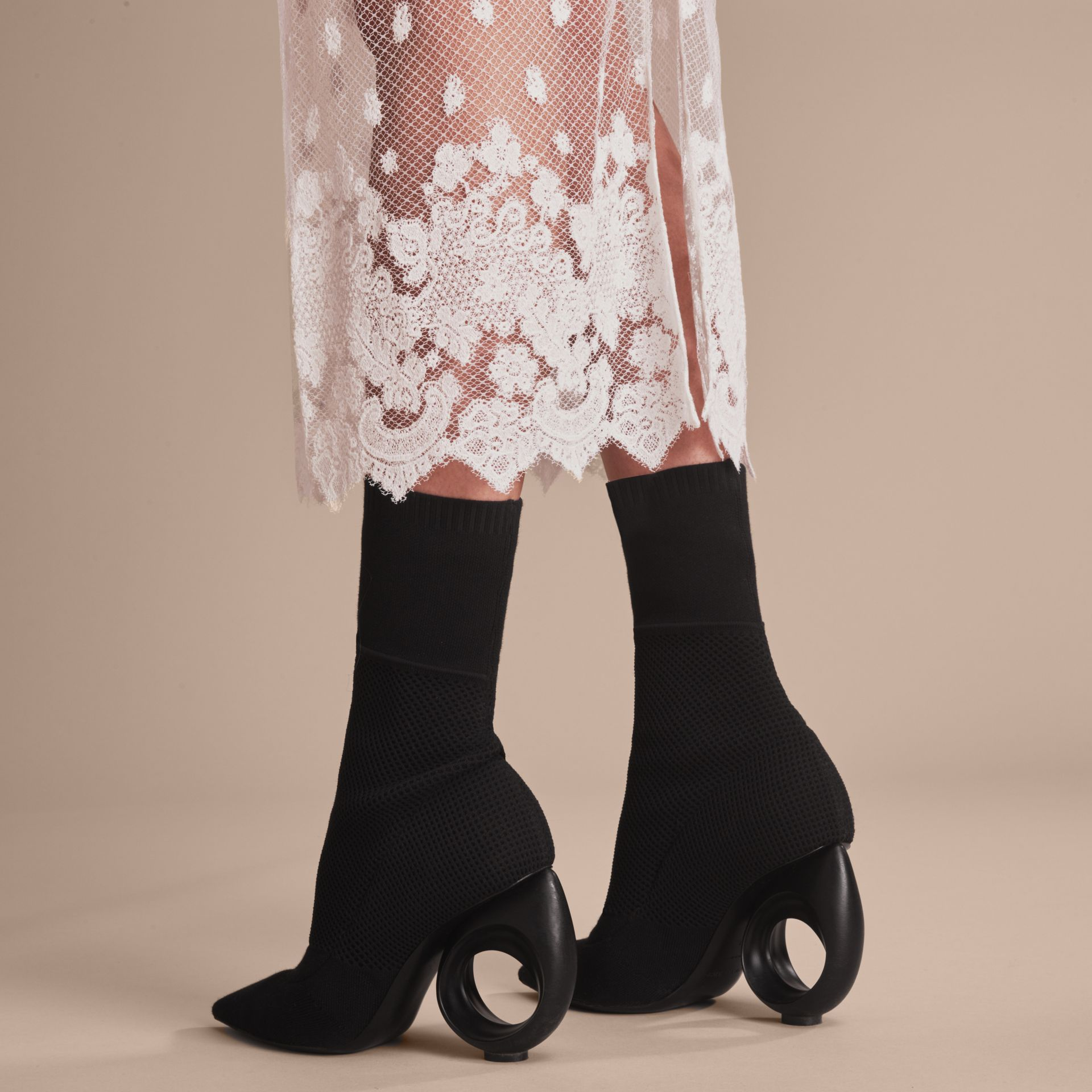 Mid-calf Knitted Boots with Sculpted Heel Black - gallery image 6