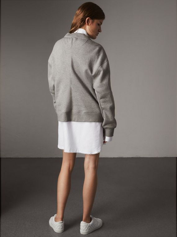 Gem-embellished Jersey Sweatshirt in Pale Grey Melange - Women | Burberry United Kingdom - cell image 2