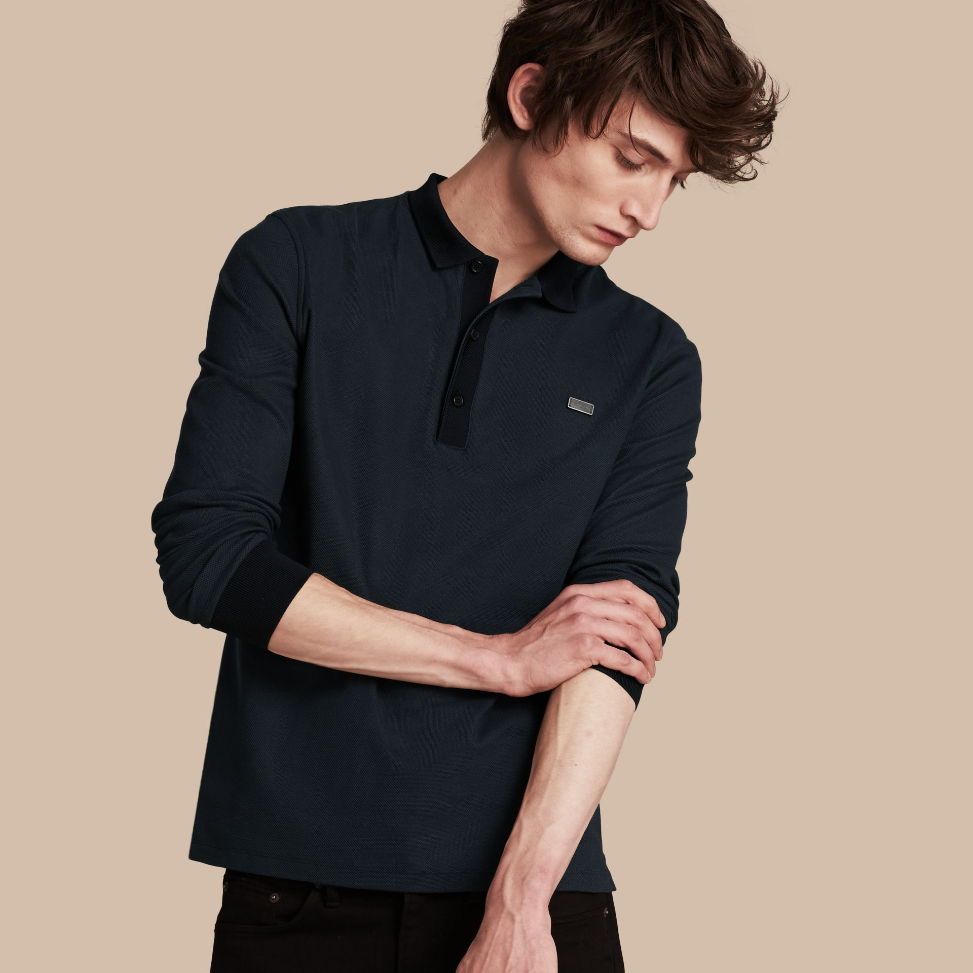 Storm blue/navy Long-sleeved Cotton Piqué Polo Shirt Storm Blue/navy - gallery image 1