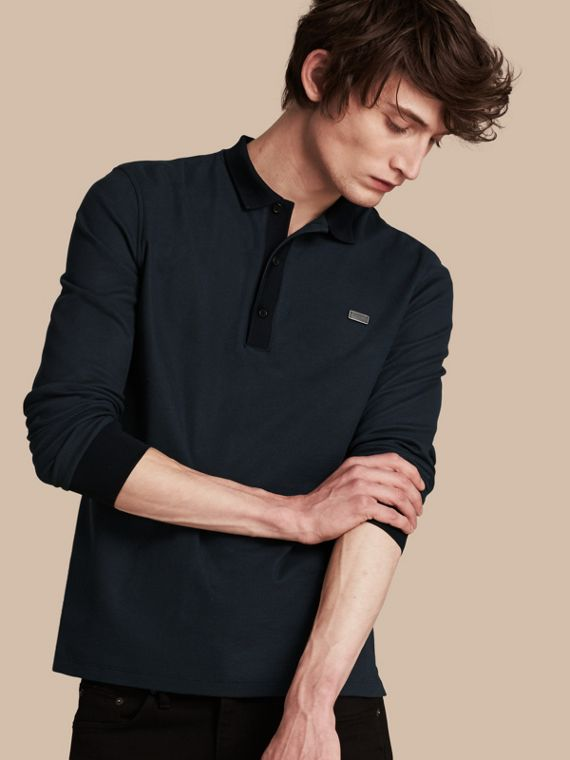 Long-sleeved Cotton Piqué Polo Shirt Storm Blue/navy