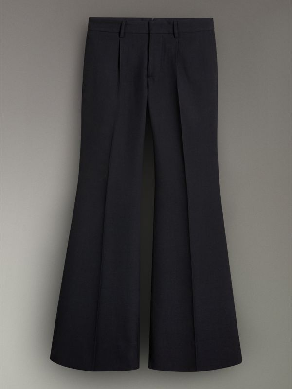 Flared Wool Tailored Trousers in Dark Navy - Women | Burberry - cell image 3