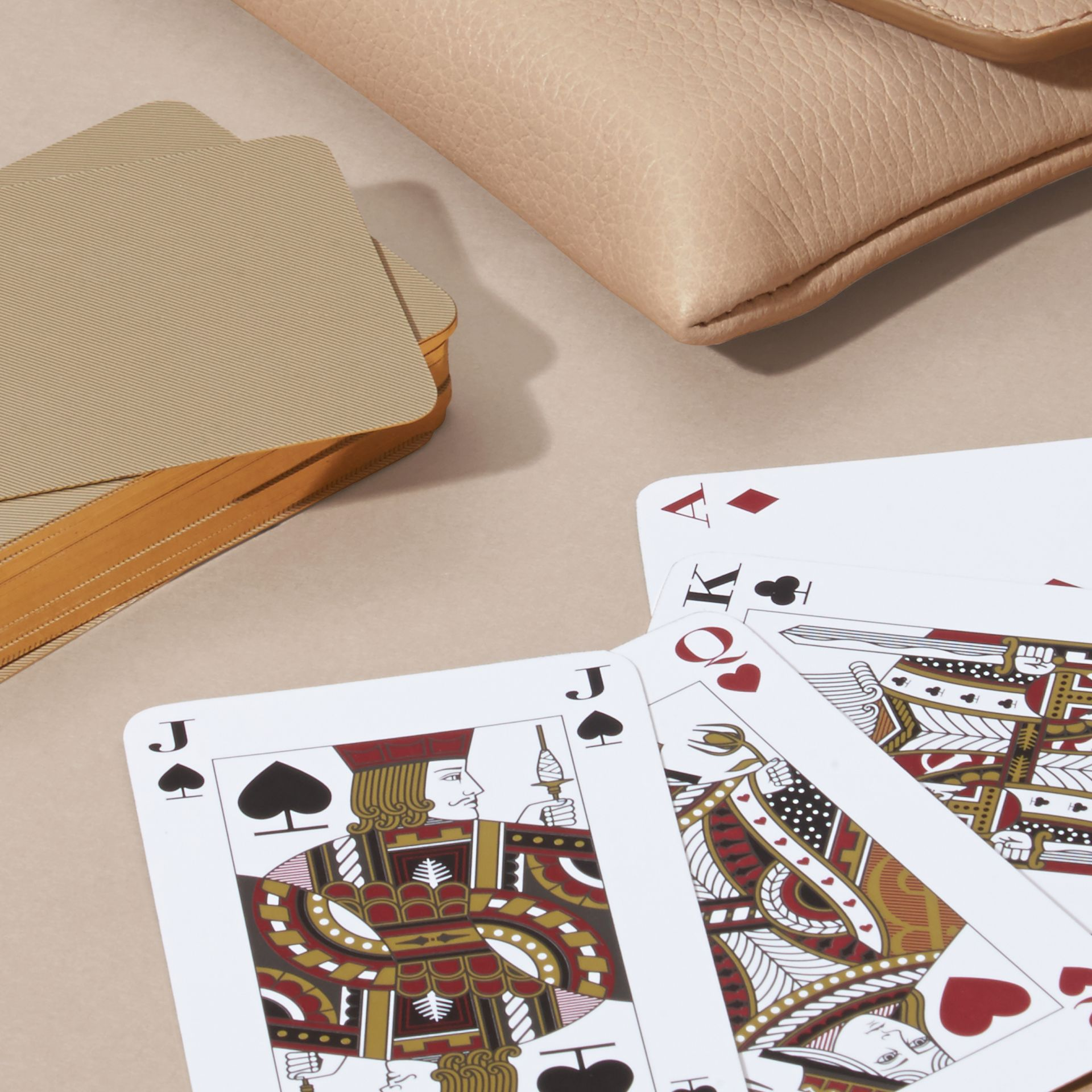 Pale apricot Grainy Leather Playing Card Case Pale Apricot - gallery image 4