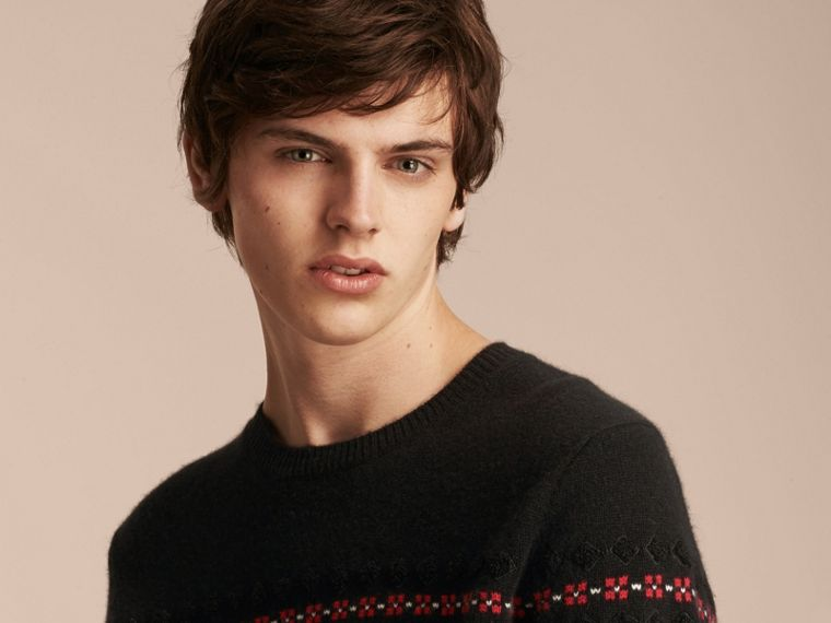 Fair Isle Knit Cashmere Wool Sweater - cell image 4