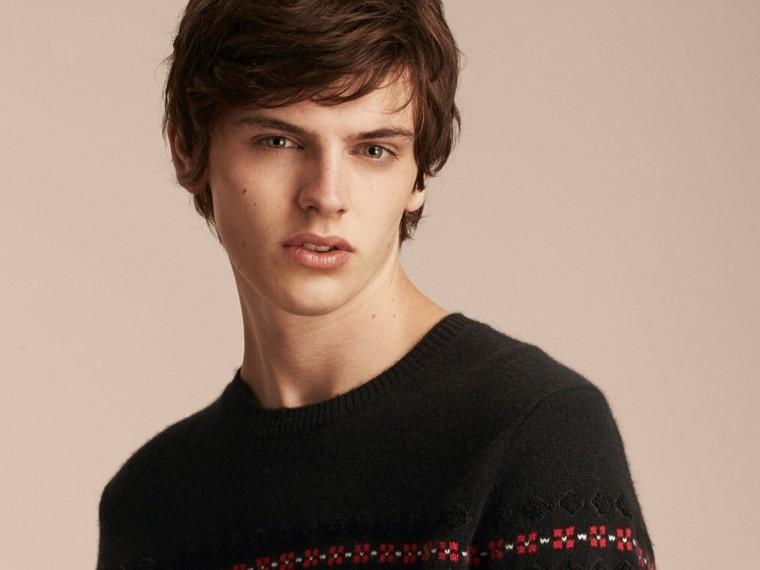 Preto Suéter de lã e cashmere com estampa Fair Isle - cell image 4
