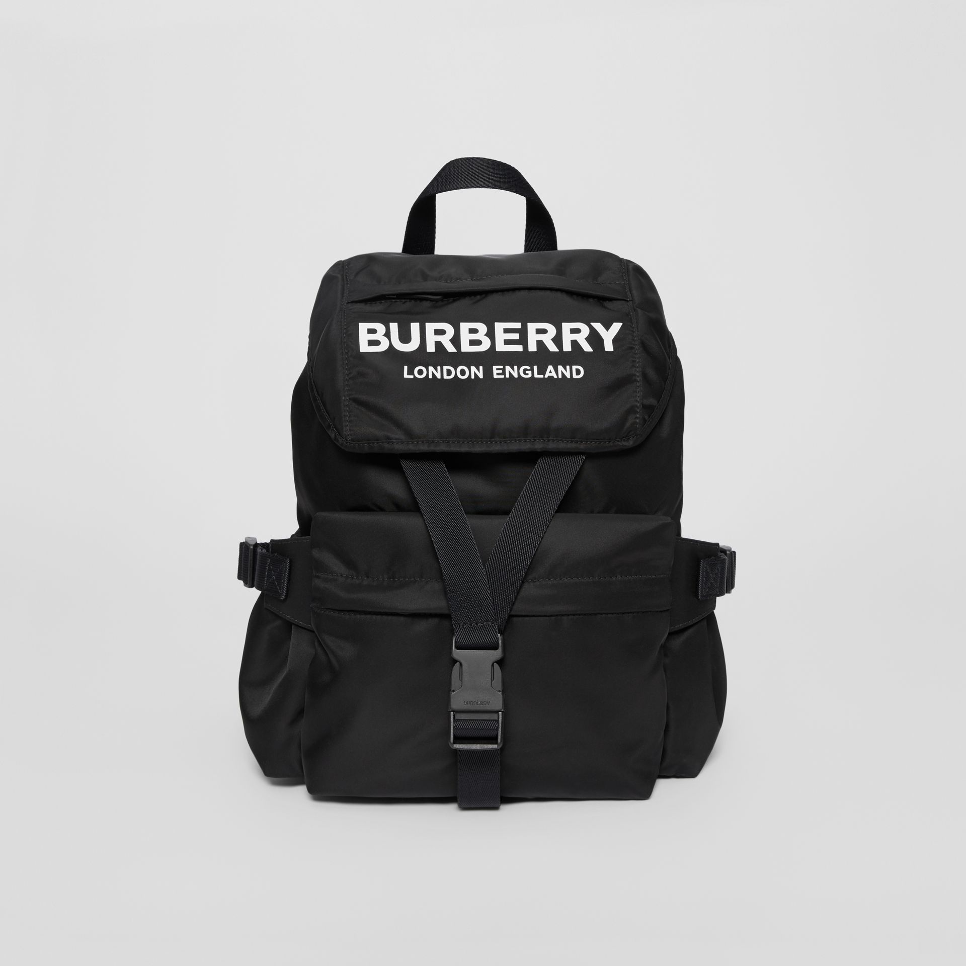 Logo Print Nylon Backpack in Black - Women | Burberry Singapore - gallery image 0