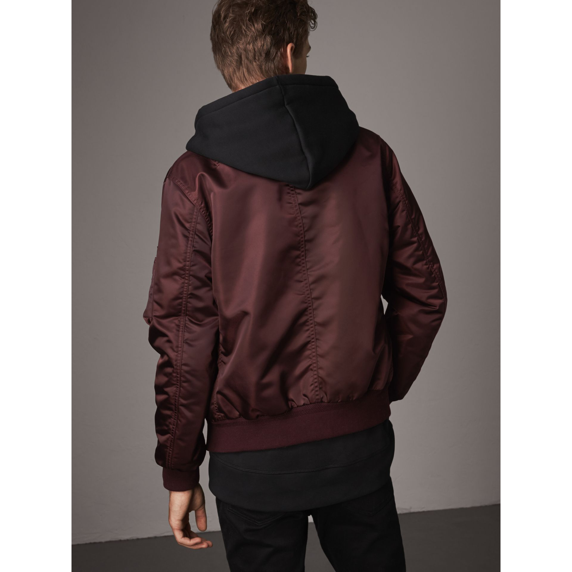 Point Collar Bomber Jacket in Claret - Men | Burberry - gallery image 3