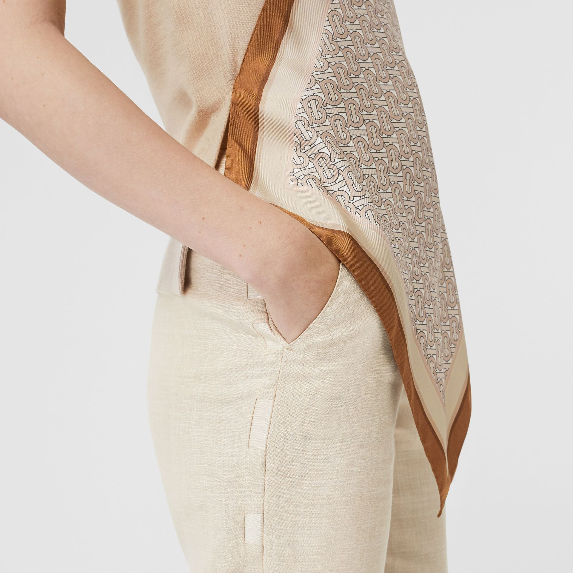 Monogram Print Scarf Detail Wool Vest in Pale Fawn - Women | Burberry - gallery image 5